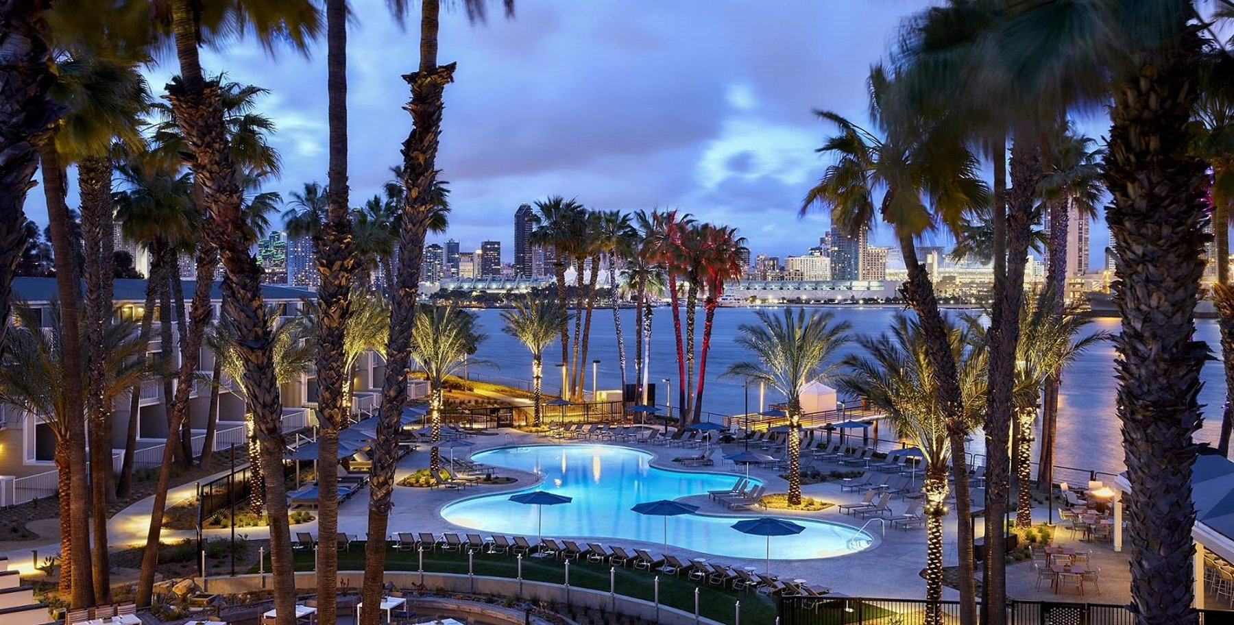 View of the pool with ALBACA dining view of San Diego